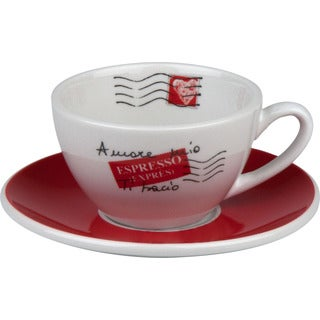 Konitz Coffee Bar Amore Mio Cafe Creme Cups and Saucers (Set of 4)