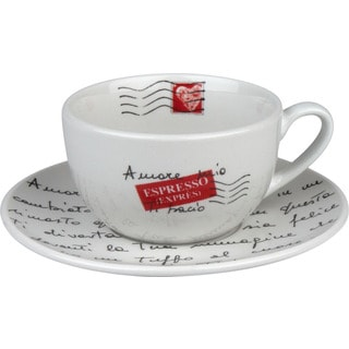 Konitz Coffee Bar Amore Mio Mugs and Saucers (Set of 2)