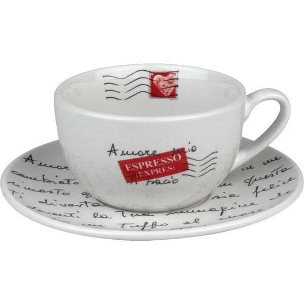 Konitz Coffee Bar Amore Mio Mugs and Saucers (Set of 2)