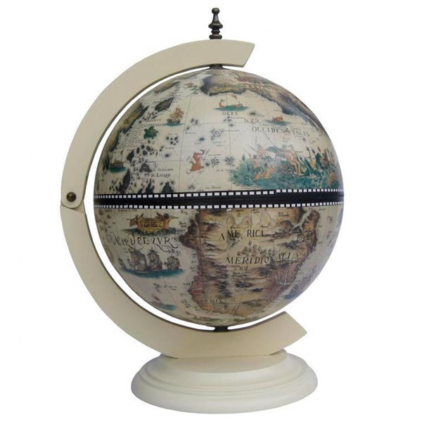 Amazing Classic Turin Italian Style 13 Inch White Tabletop Globe Bar