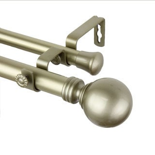 InStyleDesign Sphere Light Gold Adjustable Double Curtain Rod/ Finial Set