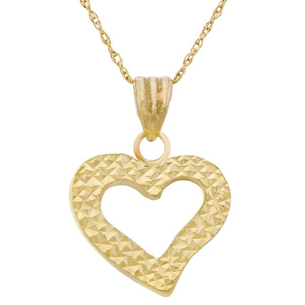 Gioelli 14k Yellow Gold Diamond-cut Puffed Open Heart Necklace