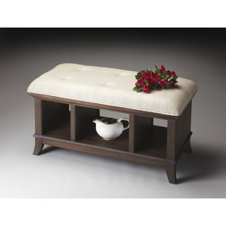Transitional Mindi Hardwood Cocoa Storage Bench