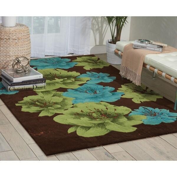 kathy ireland Palisades Americana Josh Blossom Chocolate Area Rug by Nourison - 5' x 7'6
