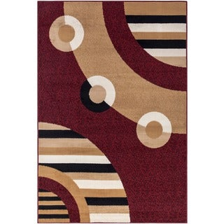 Ottomanson Paterson Circles Dark Red Area Rug (7'10 x 9'10)