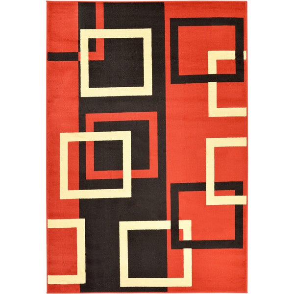Ottomanson Paterson Boxes Dark Red Area Rug (8'2 x 9'10)
