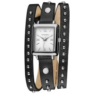 Vernier Womens' Fashion Round Studded Black Genuine Leather Triple Wrap Watch
