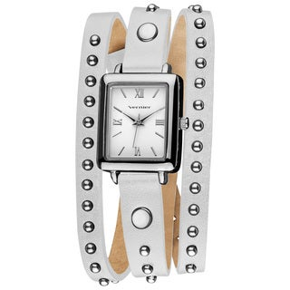 Vernier Women's Fashion Round Studded White Genuine Leather Triple Wrap Watch