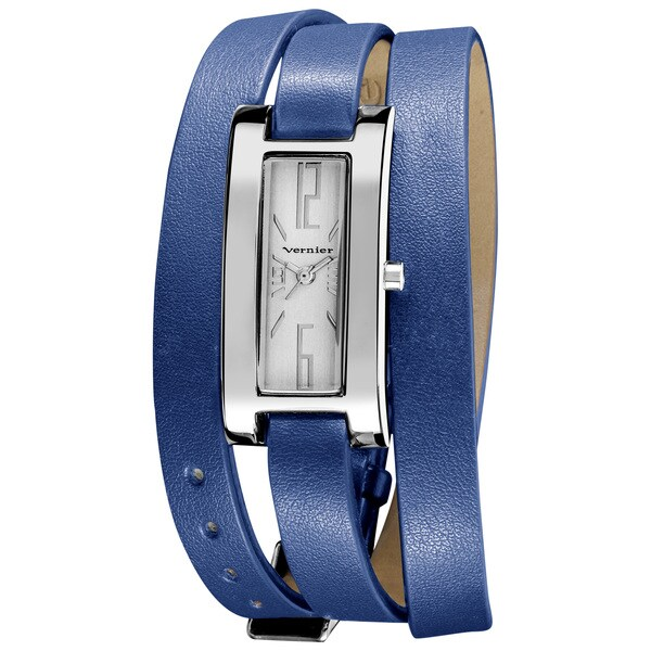 Vernier Women's Silvertone Case Blue Triple Wrap Strap Quartz Watch