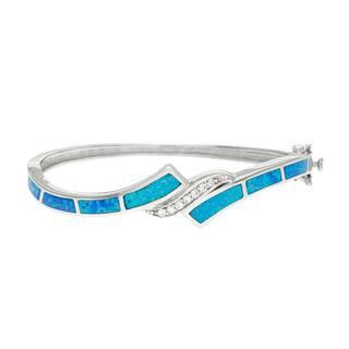 La Preciosa Sterling Silver Blue Opal and Cubic Zirconia Bangle|https://ak1.ostkcdn.com/images/products/8534891/P15815830.jpg?impolicy=medium