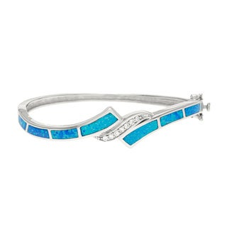 La Preciosa Sterling Silver Blue Opal and Cubic Zirconia Bangle