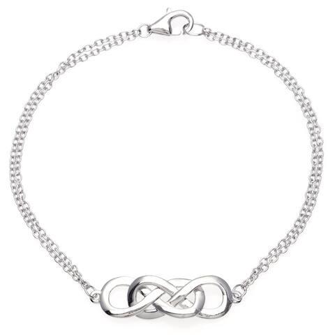 La Preciosa Sterling Silver Intertwined Double Infinity Bracelet