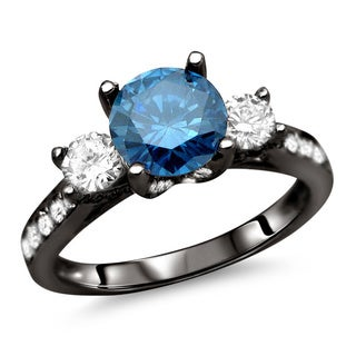 Noori 18kBlack Plated Gold 1 3/4ct TDW Certified Blue and White Diamond Ring