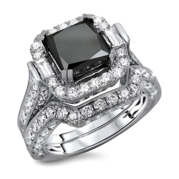 Noori 18k White Gold 6ct TDW Certified Black and White Diamond Princess Cut 2-Piece Ring Set (E-F, V
