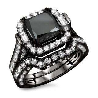 Noori 18kBlack Gold 6 1/10ct TDW Black Princess Cut Diamond 2-piece Ring Set