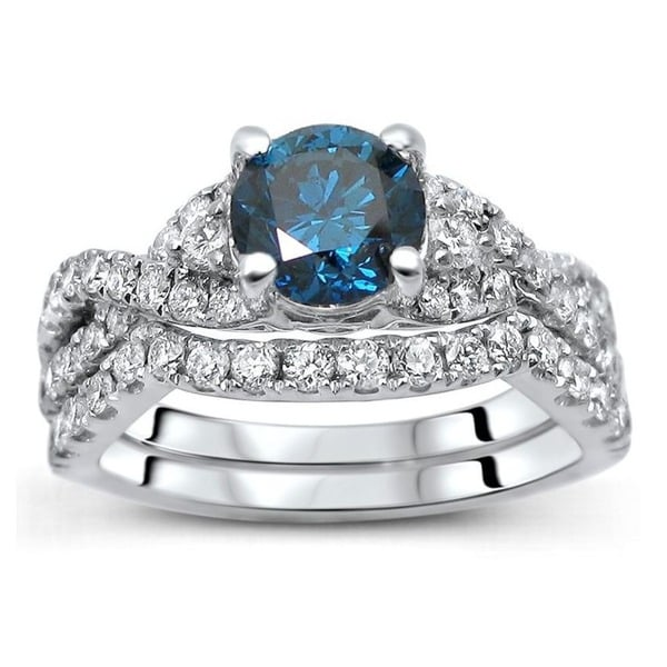 Noori 18K White Gold 1 1/2ct TDW Certified Blue Diamond 2-piece Bridal Set