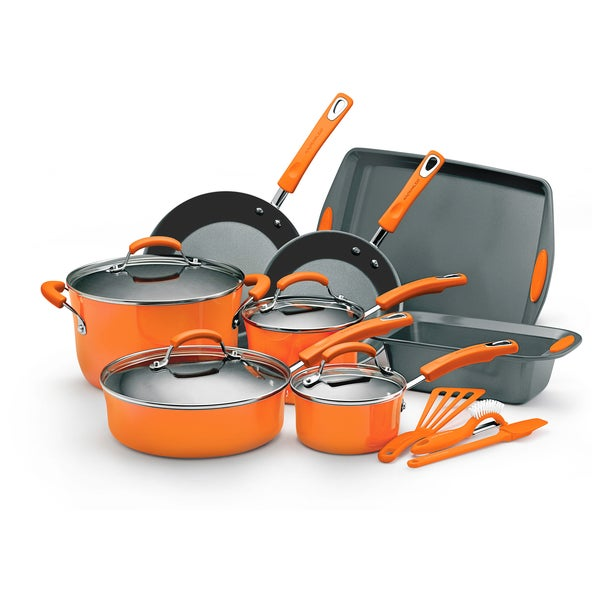 Rachael Ray Orange Hard Enamel 15-piece Cookware Set
