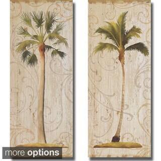 Elizabeth Medley 'Palm Swirls I and II' 2-piece Canvas Art Set