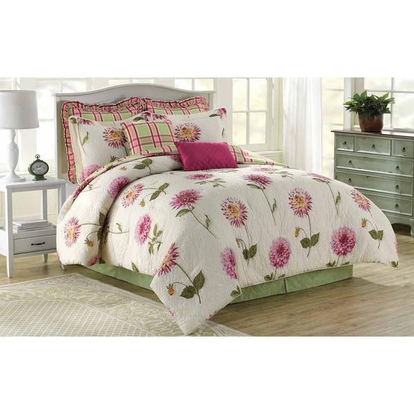 Soho New York Home Pink Dahlia 8-piece Cotton Comforter Set