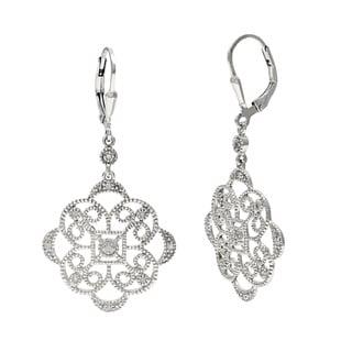 La Preciosa Sterling Silver Circle Dangle Diamond Earrings