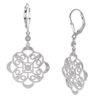 La Preciosa Sterling Silver Floral Design Dangle Diamond Earrings|https://ak1.ostkcdn.com/images/products/8536817/La-Preciosa-Sterling-Silver-Floral-Design-Dangle-Diamond-Earrings-P15817409.jpg?impolicy=medium