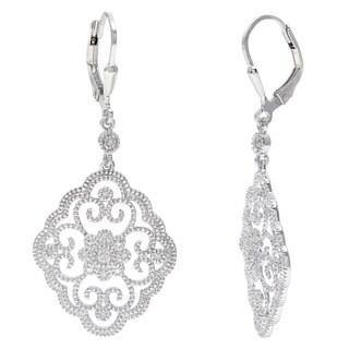 La Preciosa Sterling Silver Filigree Dangle Diamond Earrings (I-J, I2-I3)