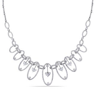 Miadora Signature Collection 18k White Gold 5ct TDW Diamond Bib Necklace (G-H, SI1-SI2)