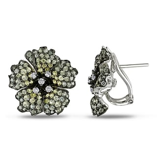Miadora Signature Collection 18k White Gold Sapphire and 1/3ct TDW Diamond Earrings (F-G, VS1-VS2)