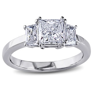Miadora Signature Collection 18k Gold 1 1/2ct TDW Princess Trapezoid Side Stone Certified Diamond Ring (G-H, SI1-SI2, IGI)