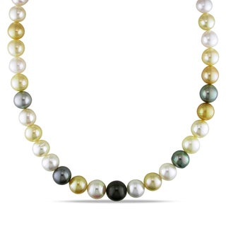 Miadora Signature Collection 14k Yellow Gold South Sea and Tahitian Pearl Necklace (10-12.5 mm)