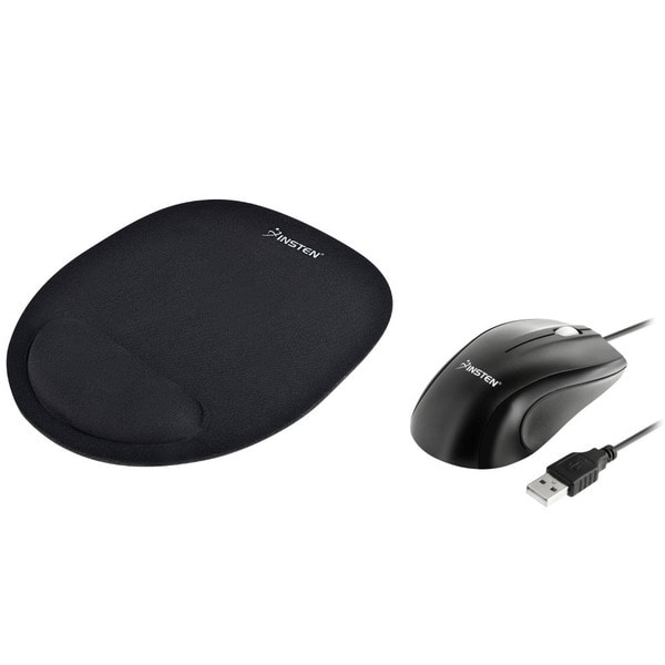 INSTEN Black Optical Mouse/ Black Mouse Pad