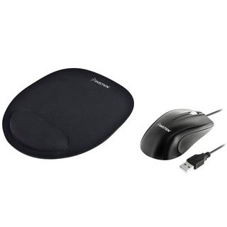 INSTEN Black Optical Mouse/ Black Mouse Pad