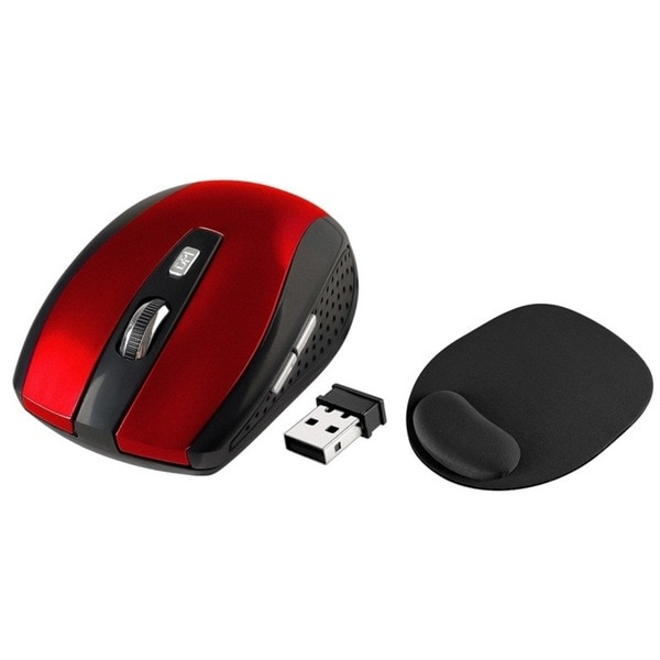INSTEN Red Optical Mouse/ Black Mouse Pad