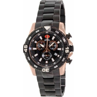 Swiss Precimax Men's Falcon Pro Stainless Steel Black Dial Chronograph Watch