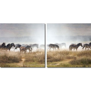 Baxton Studio A Zeal of Zebras Mounted Photography Print Diptych