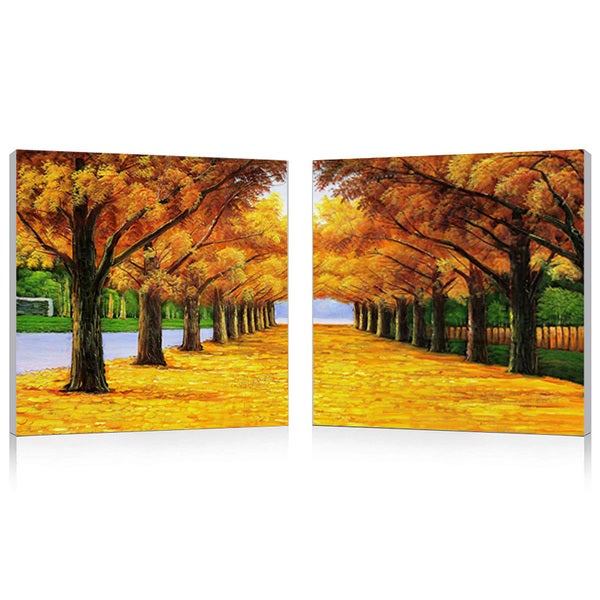 Baxton Studio Autumnal Boulevard Mounted Print Diptych