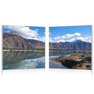 Baxton Studio Causeway through the Mountains Mounted Photography Print Diptych