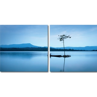 Baxton Studio Cerulean Stillness Mounted Photography Print Diptych