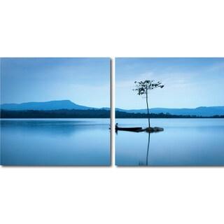 Baxton Studio Cerulean Stillness Mounted Photography Print Diptych