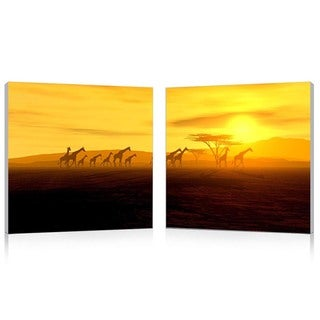Baxton Studio Glorious Giraffes Mounted Photography Print Diptych
