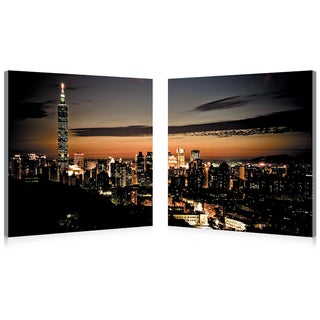 Baxton Studio Taipei Skyline Mounted Photography Print Diptych - Red
