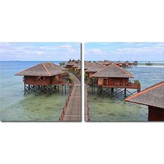 Idyllic Resort Mounted Photography Print Diptych