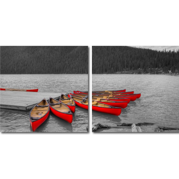 Crimson Canoes Mounted Photography Print Diptych