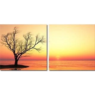 Blazing Horizon Mounted Photography Print Diptych