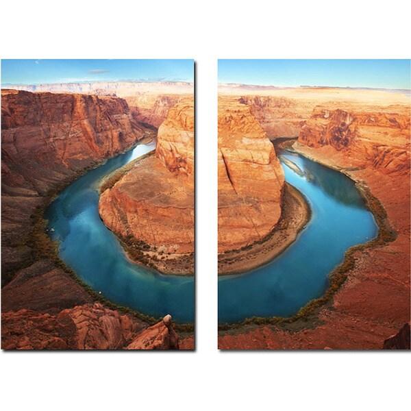 Baxton Studio Wraparound Waterway Mounted Photography Print Diptych