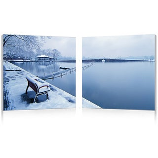 Baxton Studio Wintry Wonder Mounted Photography Print Diptych - Blue/White