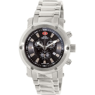 Swiss Precimax Men's Volt Pro Silvertone Stainless Steel Black Dial Chronograph Watch