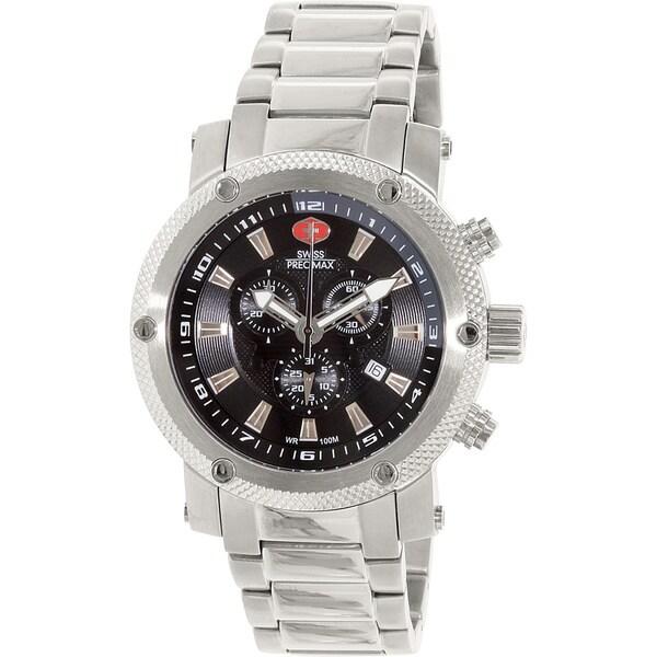Swiss Precimax Men's Volt Pro Silvertone Stainless Steel Black Dial Chronograph Watch