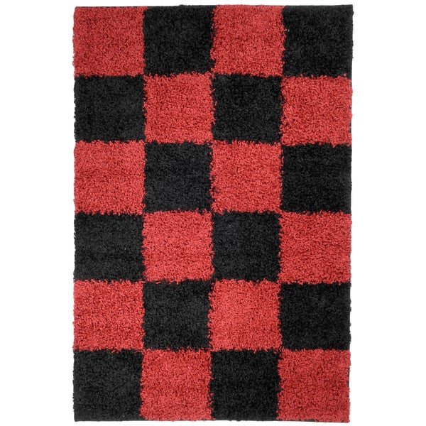Red And White Checkered Rug: Shop Ottomanson Soft Shag Red And Black Checkered Area Rug