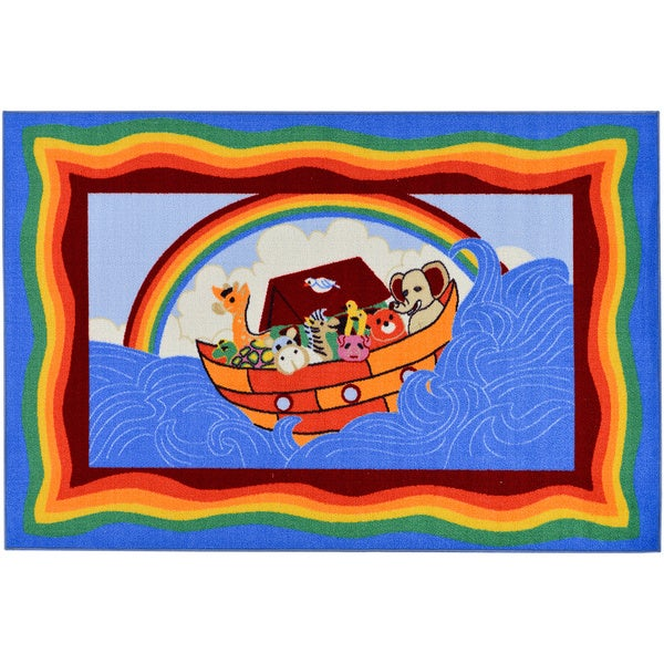 Ottomanson Children S Noah Ark Design Blue Area Rug 5 X 6